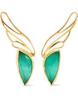 Gold Vermeil, Agate And Quartz Earrings