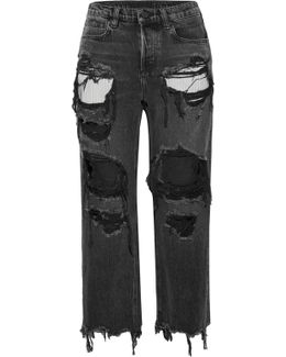 Rival Cropped Distressed High-rise Straight-leg Jeans