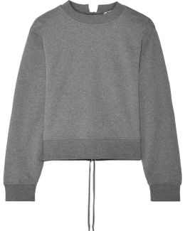 Tie-back Cropped French Cotton-terry Sweatshirt