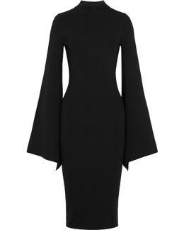Ami Open-back Stretch-knit Midi Dress