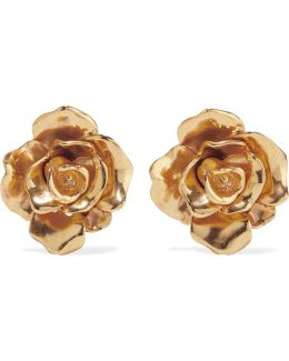 Rosette Gold-tone Clip Earrings