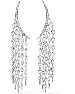 Tendril Silver-tone Crystal Earrings