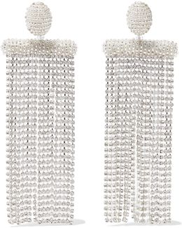 Silver-tone, Bead And Crystal Clip Earrings