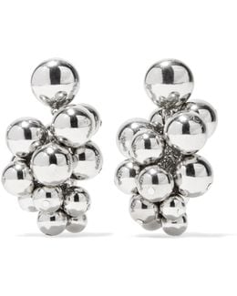 Beaded Silver-tone Clip Earrings