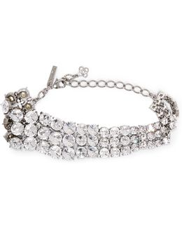 Tendril Silver-tone Crystal Choker