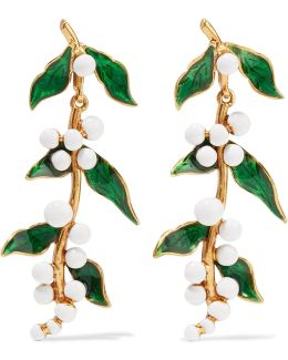 Enameled Gold-plated Earrings