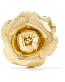 Rosette Gold-tone Brooch