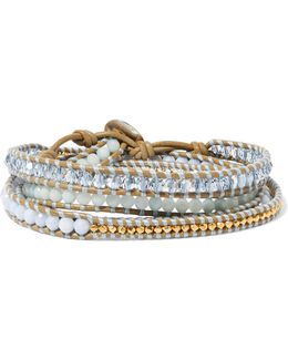 Gold-plated, Amazonite, Agate And Leather Wrap Bracelet