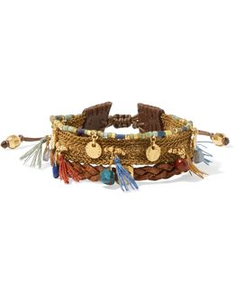 Gold-plated, Leather And Multi-stone Bracelet