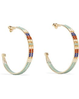 Gold-tone Beaded Hoop Earrings