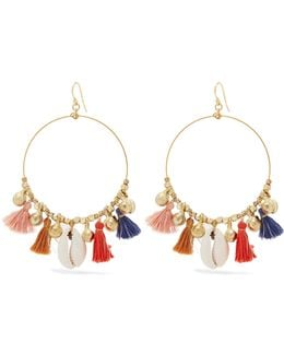 Gold-tone, Shell And Tassel Earrings
