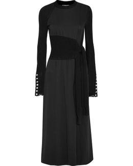 Paneled Jersey And Cotton-blend Midi Dress
