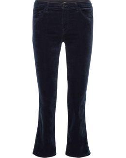 Selena Cropped Cotton-blend Velvet Flared Pants