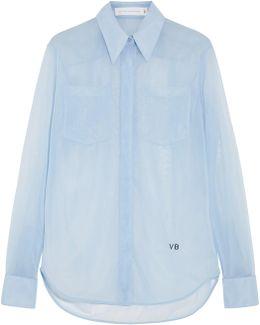 Poplin-trimmed Mesh Shirt