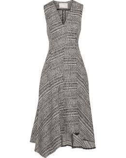Asymmetric Prince Of Wales Check Wool Midi Dress