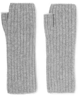Ribbed Cashmere Fingerless Gloves
