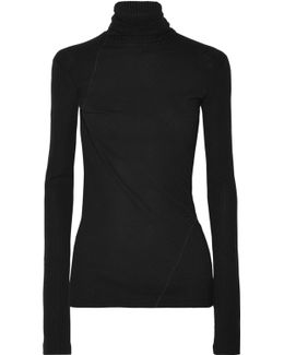 Ribbed Cotton Turtleneck Top