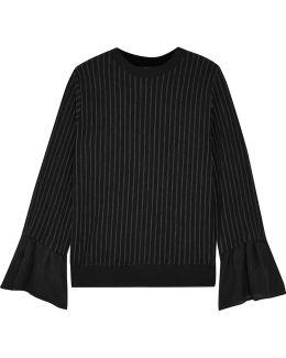 Silk-trimmed Pinstriped Cotton-blend Jersey Top