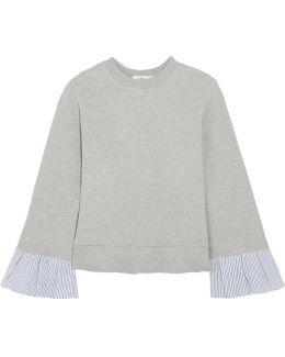 Striped Poplin-paneled Cotton-blend Sweatshirt