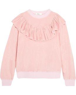 Ruffled Velour Sweatshirt