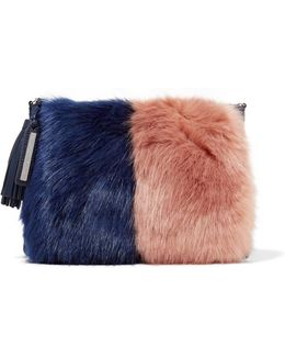 Two-tone Faux Fur And Suede Clutch