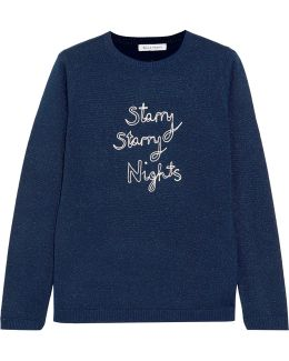 Starry Starry Nights Embroidered Metallic Wool-blend Sweater