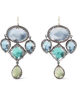 Sadie Girandole Rhodium-dipped Quartz Earrings