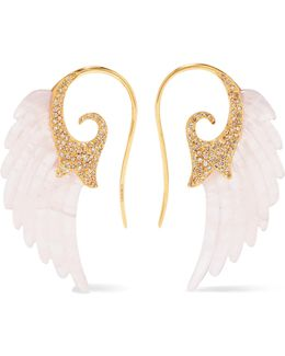 Wing 18-karat Gold, Agate And Diamond Earrings