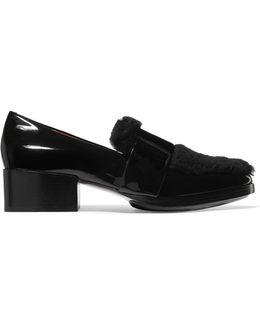 Quinn Shearling-paneled Patent-leather Loafers