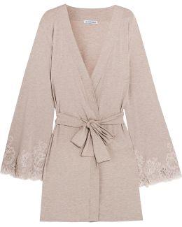 Rendez-vous De Dimanche Lace-trimmed Modal-blend Robe