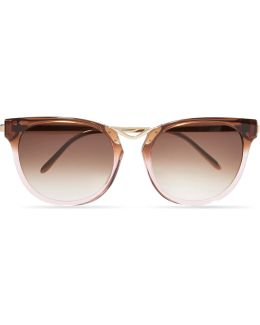 Gummy Cat-eye Acetate And Gold-plated Sunglasses