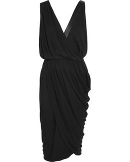 Leather-trimmed Draped Stretch-crepe Dress