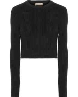 Cropped Ribbed Wool-blend Sweater