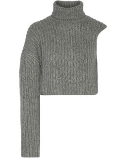 One-shoulder Cropped Wool And Mohair-blend Turtleneck Sweater