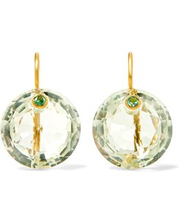 18-karat Gold, Quartz And Aquamarine Earrings