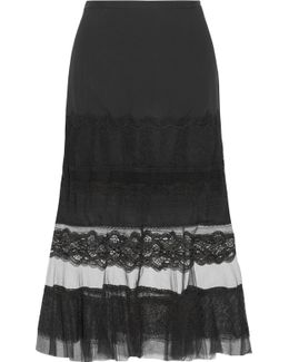 Lace-trimmed Silk-chiffon And Tulle Skirt