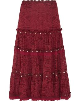 Embellished Corded Lace Midi Skirt