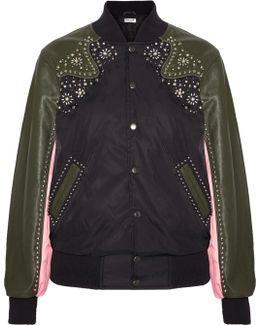 Embellished Leather-trimmed Shell Bomber Jacket