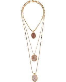 Agata Gold-tone Resin Necklace