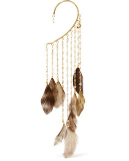 Selva Gold-tone Feather And Bead Ear Cuff