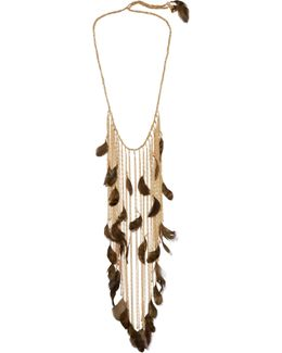 Selva Gold-tone, Feather And Bead Necklace