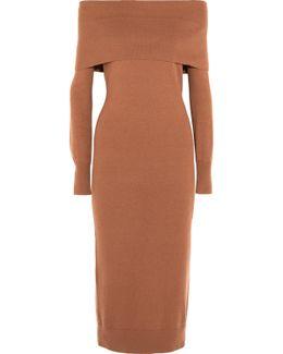 Over-the-shoulder Merino Wool Midi Dress