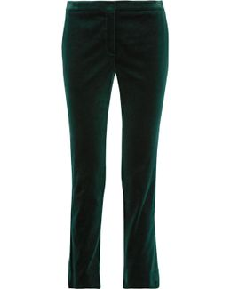 Cotton-blend Velvet Straight-leg Pants