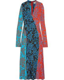 Paneled Printed Silk Maxi Dress
