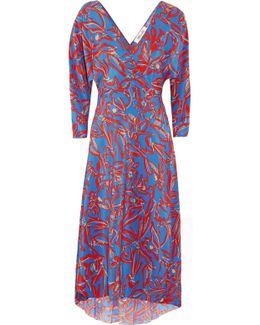Asymmetric Printed Silk Crepe De Chine Midi Wrap Dress