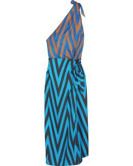 One-shoulder Printed Silk-twill Midi Dress