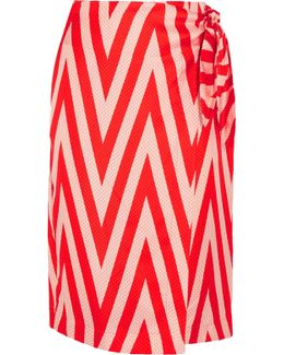 Wrap-effect Printed Silk-twill Skirt