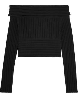Off-the-shoulder Ribbed Merino Wool Sweater