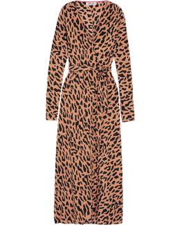 Leopard-print Silk Crepe De Chine Wrap Dress