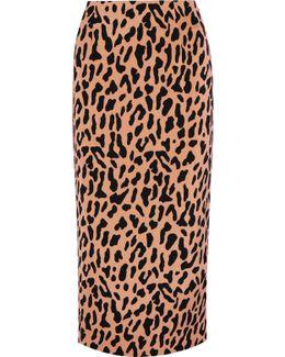 Leopard-print Crepe De Chine Midi Skirt